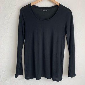 Eileen Fisher silk blend LS scoop neck top